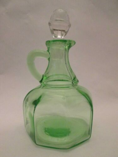 CRUET w/STOPPER! Vintage HAZEL ATLAS DEPRESSION glass: GREEN color: LOVELY
