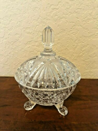 Vintage Beautiful CLEAR CUT CRYSTAL FOOTED COVERED CANDY DISH