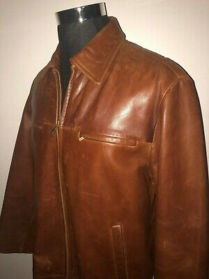 RARE!!  Guess Mens Leather Jacket Size Medium brown  soft Genuine Leather $349