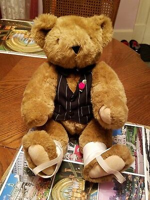"""Vermont Teddy Bear Gangster of Love 15"""" plush stuffed animal collectible toy EUC"""