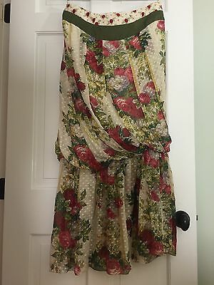 Stunning KENZO Strapless Drop Waist Floral Silk DRESS Size 44 Strapless Drop