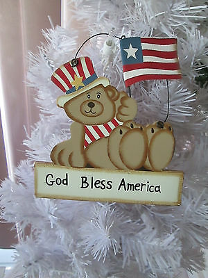 "5"" Americana Patriotic Bear Ornament w/Flag, God Bless America, 4th of July New"