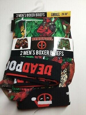 Deadpool Marvel Men's Christmas Boxer Briefs 2 Pair Small 28-30