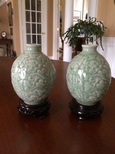 Pair Siam Celadon Wood Ash Glaze Vases