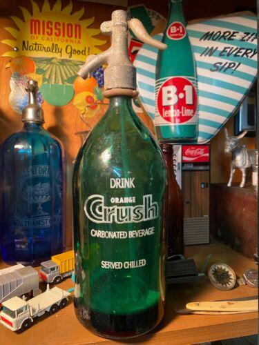 Vintage Orange Crush Glass Seltzer Bottle Soda Fountain Cola Eteched