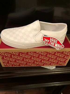 Woman's Vans Asher New white On White Checker canvas slip on sneakers Size 7.0