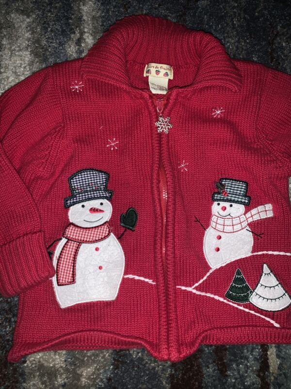 Girls Faire de Fraises Christmas Red Snowman Zip Front Sweater sz 3T
