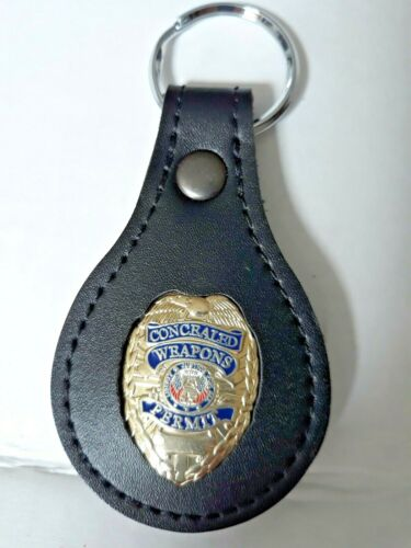 CONCEALED CARRY Badge - All Leather  - KEY FOB -
