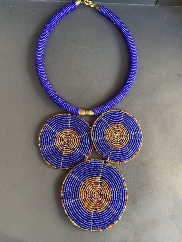 Vintage African Beaded Necklace - Blue, Orange Yellow