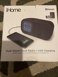 iHome Bluetooth Alarm Clock Radio with USB Charging Black Speakers and Alarm
