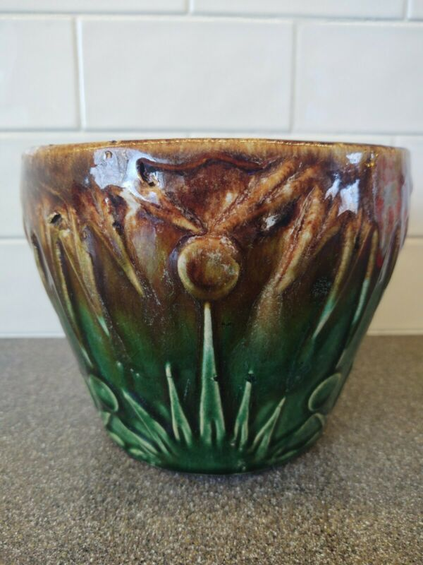 Vintage RRP Co Robinson Ransbottom Sun and Moon Jardiniere, Green Brown Large...