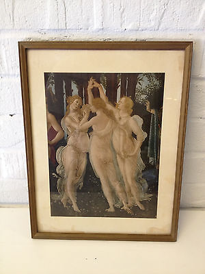 Vintage Antique Likely Roberto Hoesch Print of 3 Muses / Graces After Botticelli