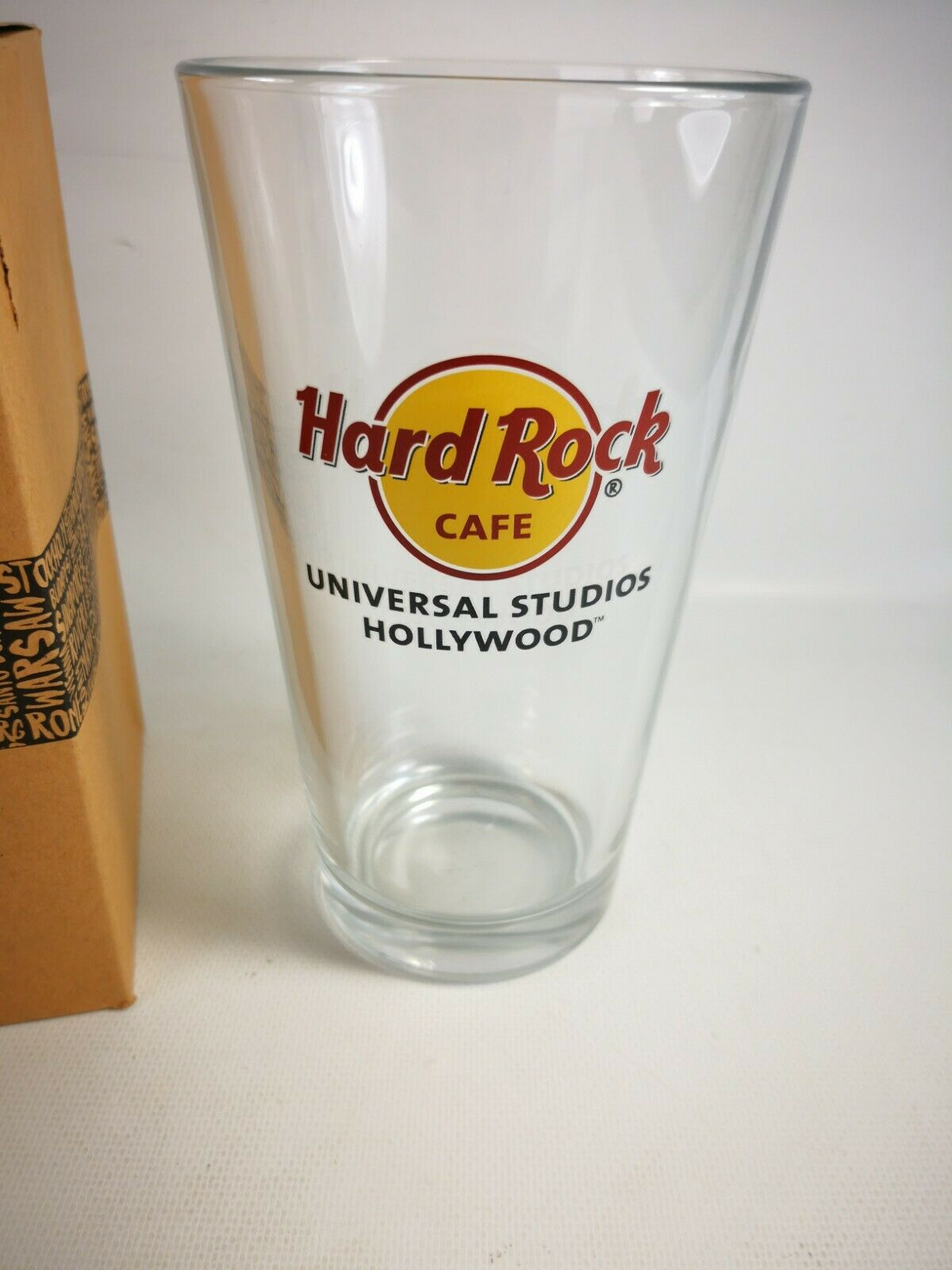 New Hard Rock Cafe Hollywood Pint Beer Glass With Original Box - $15.99