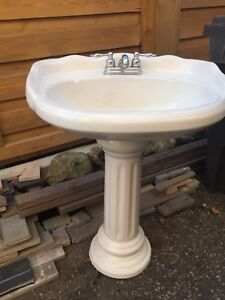 Bathroom Sink, pedestal, and taps $60