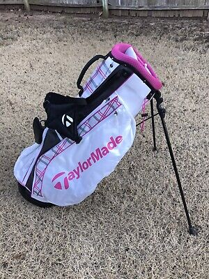 TaylorMade Ladys Golf Bag Pink White Gray 4 Way divider Excellent!