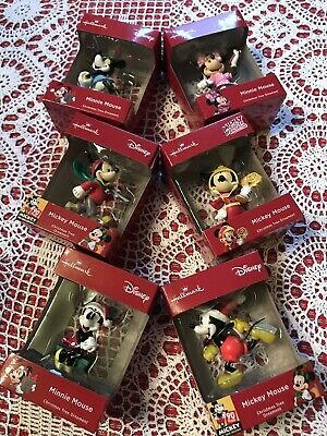 HALLMARK CHRISTMAS TREE ORNAMENTS MICKEY AND MINNIE MOUSE LOT OF 6 ()