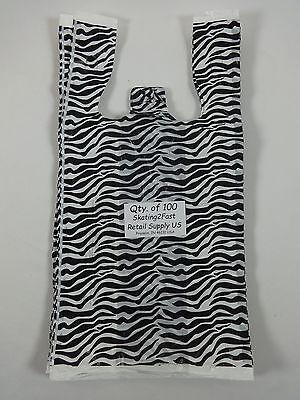 100 Zebra Print Design Plastic T-shirt Retail Shopping Bags Handles 8 X 5 X16