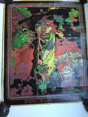 Rare Vintage Jimi Hendrix Blacklight Poster, Original 70's/Hard To Find Image