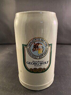RARE Mid Century German Georg Wolf Bier Beer Stoneware BIG 1 Liter Mug Stein