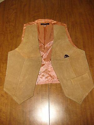 JORDACHE fashion vtg leather vest small 1970s macho horse logo disco OG