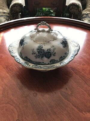 ALFRED MEAKIN china GLENMERE Blue-Green Round Ftd Covered Vegetable Serving Bowl ()