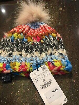 Zara Striped Hat With Fox Pom-Pom please Read Description
