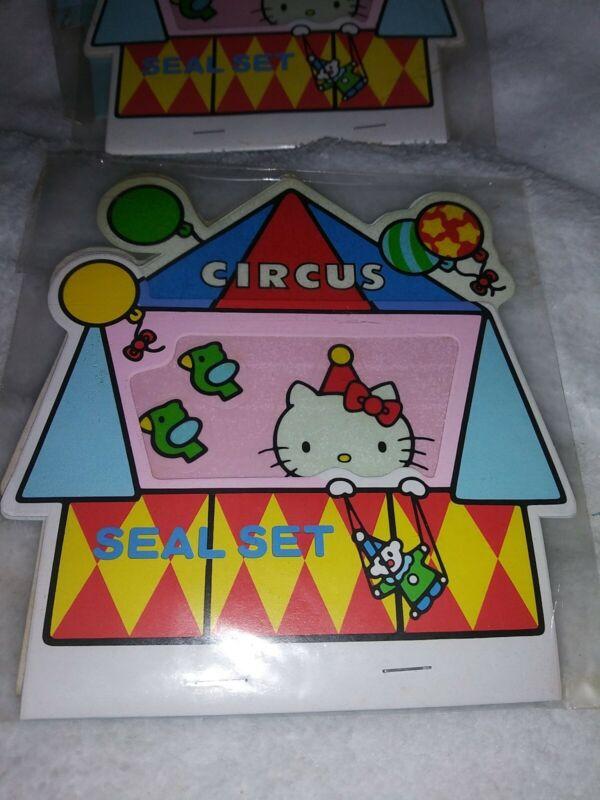 Rare 1976 HELLO KITTY Circus Theme Seal Set by Sanrio. NOS!