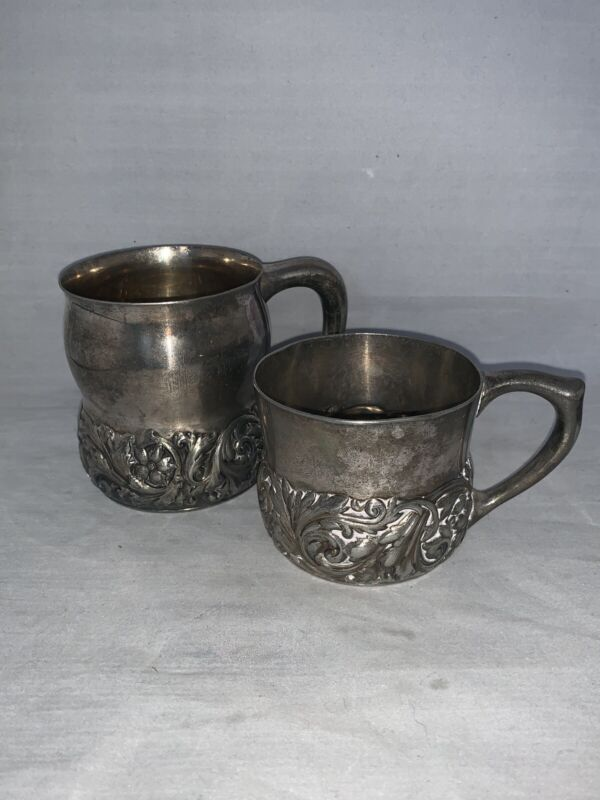 Antique Meriden B  Silver Plate Cups Matching Set of 2, Monogrammed Flowers