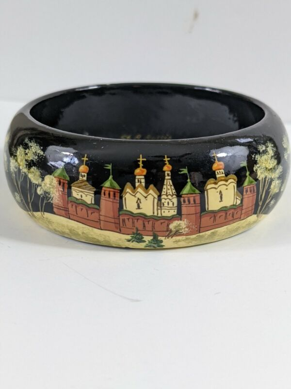 Vintage Black hand painted Russian 90s church castle scene Bangle Bracelet