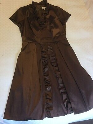 Julian Taylor Ladies Bronze Ruffle Detail V Neck Stretchy Party  Dress Size 12