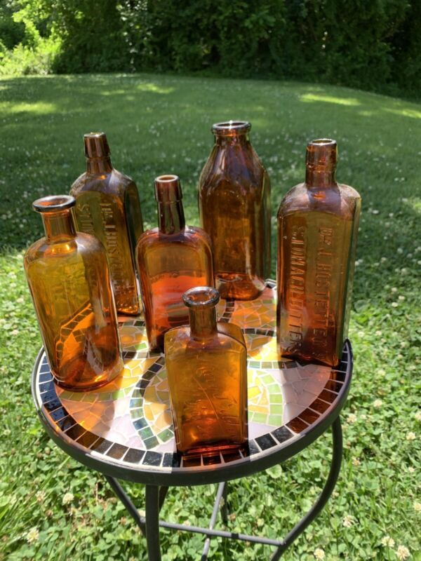 Antique Vintage Lot 6 Amber Bitters Hostetters Milk Apothecary/Pharmacy bottles