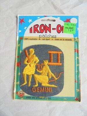 - Cool Vintage Gemini Zodiac Astrology Sign Denim Retro Iron On Cloth Patch NOC