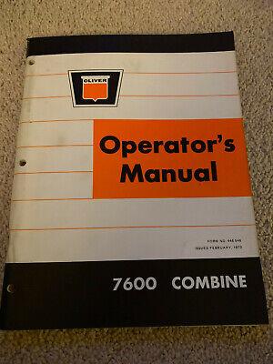Oliver 7600 Combine Farm Equipment Operators Manual 1973