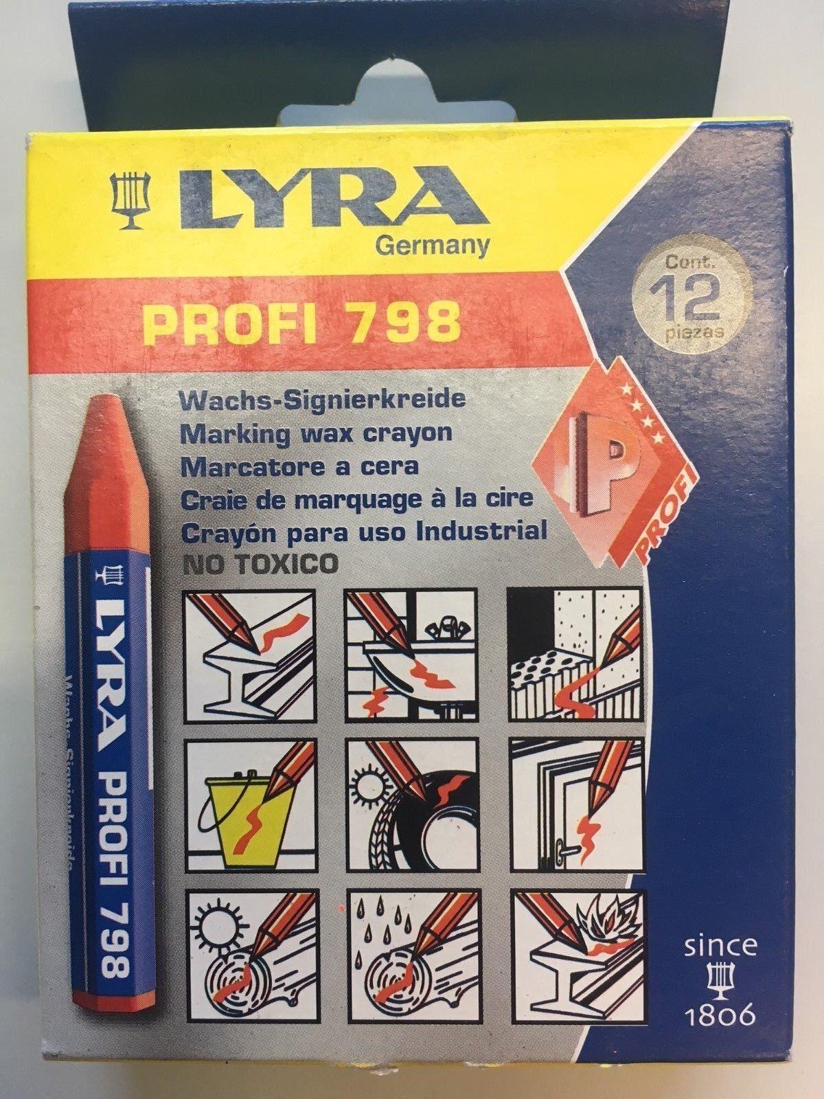 Lyra 798 Profi WachsSignierkreide rot VE 12 Stück. Wachskreide Markierung