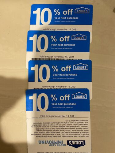 5 LOWES Coupons 10 OFF For Home Depot ONLY ,Not For Lowes, Nov.15th 2021 - $6.99