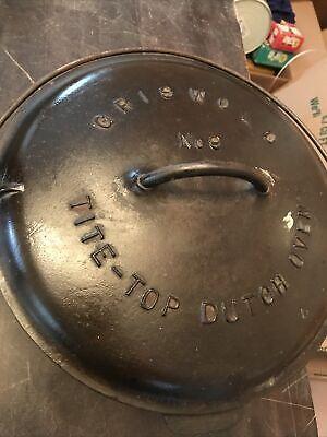 1920 Griswold Cast Iron No 9 Dutch Oven 834 Pot , 2552 Lid