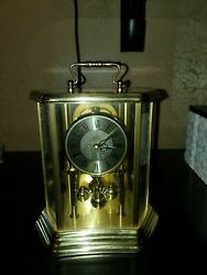 Bulova mantel anniversary clock hexagon carriage style etched glasss