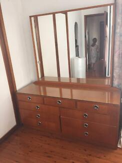 1920s Handmade Dressing Table and Mirror (With Glass top)