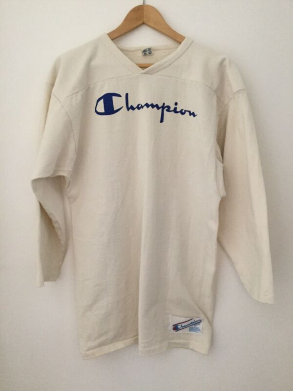 VINTAGE- Champion football Workout Jersey: 3/4 Sleeve, Off-white Cotton, 50's?