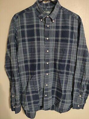 Gitman Bros Vintage Navy Checkered Plaid L/S Button Casual Dress Shirt - Men's L