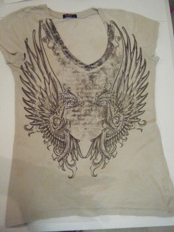 PARTY BROWN TEE LARGE WING DESIGN WITH CLEAR CRYSTALS ON FRONT TAN/BROWN DESIGN