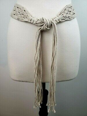 Macrame Tie Boho Belt Fringe Fits 30
