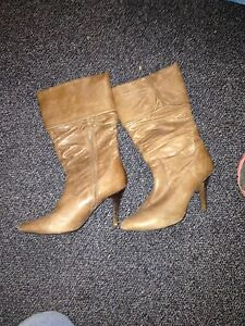 Leather heeled boots