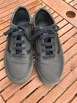 BLACK LEATHER VANS SKATEBOARD TRAINERS GOOD CLEAN CONDITION SIZE UK8