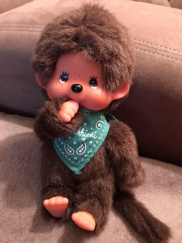 "Vintage Monchhichi Boy Monkey Plush Doll With Green Bandana 8"" Sekiguchi"