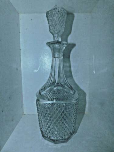 ANTIQUE EAPG GLASS Diamond Point Hinoto Decanter