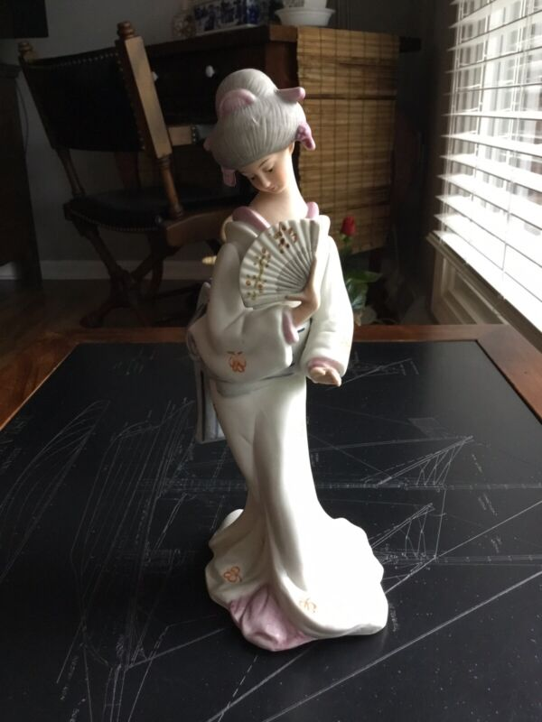 Bisque Japanese Geisha Girl Statue Figurine Holding Fan 9 1/2 Inches Tall