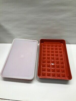 2 Vintage Tupperware #1292 Paprika Red Hot Dog Bacon Cold Cut Keeper With Lid