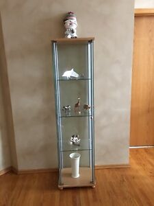 Glass and wood curio cabinet MINT