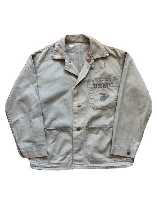 WWII USMC P1941 P-41 HBT Herring Bone Twill Combat Jacket or Shirt Uniform